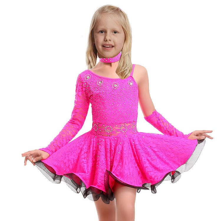 e0d48d40b Lace Latin Dance Dress For Girls Samba Dress Ballroom Kids Dancing Dress  Girl Dancewear Ballet Vestido Baile Latino Girls