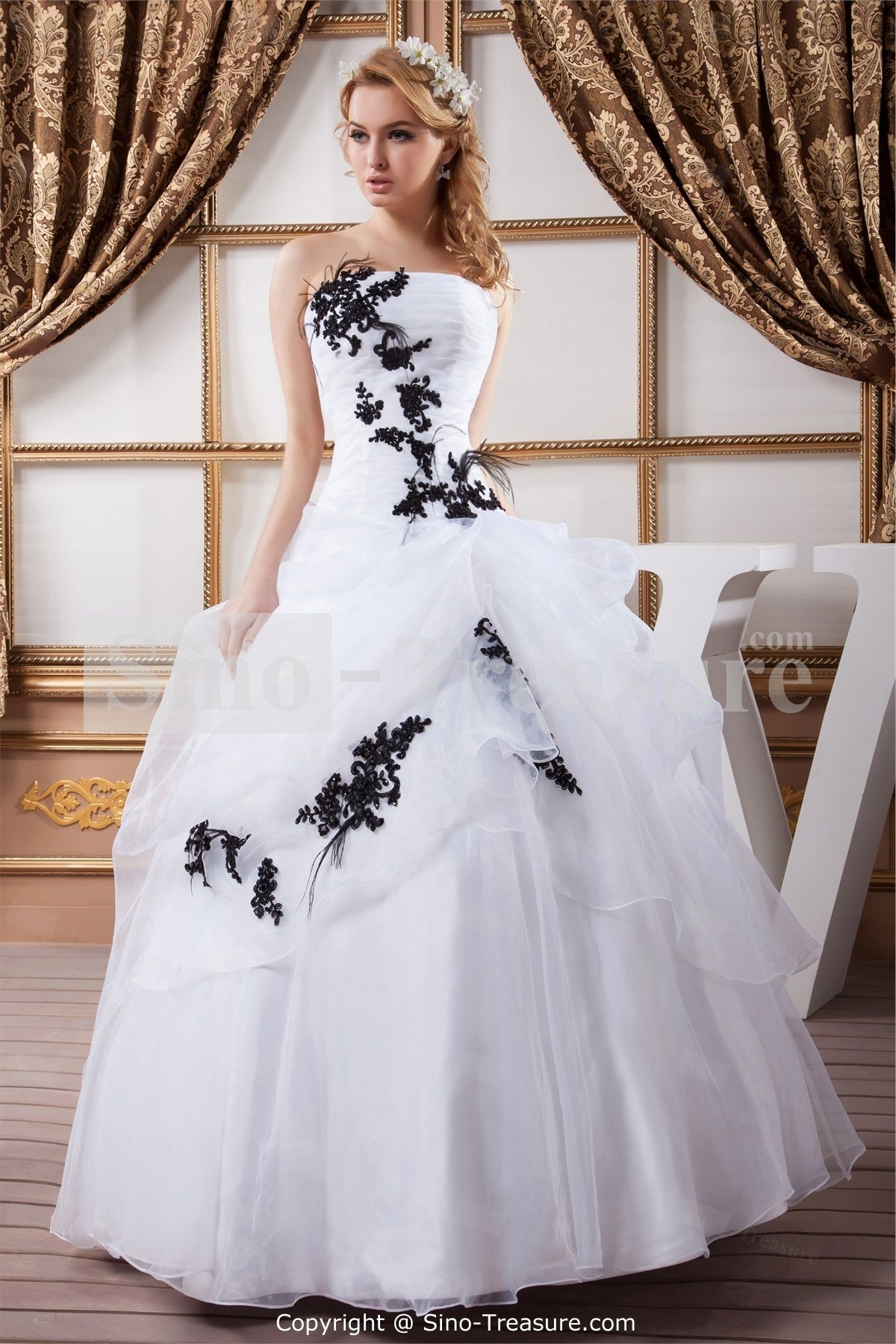 whiteblack hourglass ball gown natural strapless outdoor garden satinorganza wedding dress
