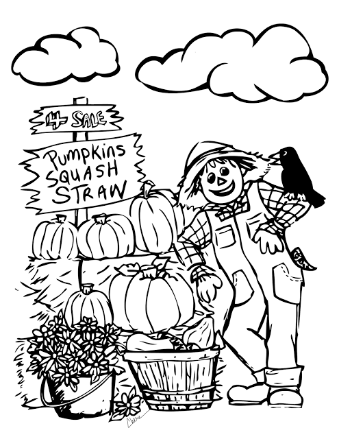 Autumn Fun Coloring Page For Kids Cute Scarecrow And His Buddy Standing By