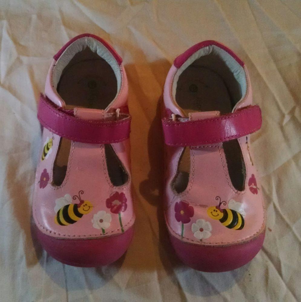 b52b227304b4d1 Momo Baby Size 7.5 Pink Bumblebee Toddler Girls Leather T-Strap Shoes GUC   fashion