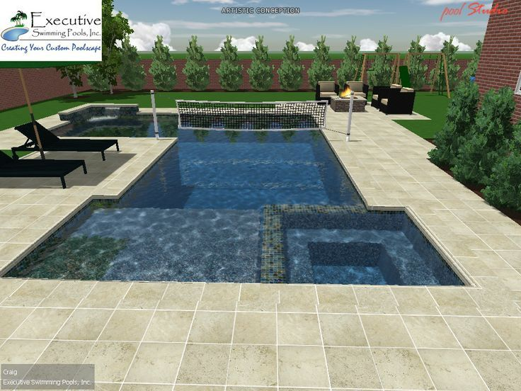 Rectangular pools design with spa custom pool design for Swimming pool spa designs
