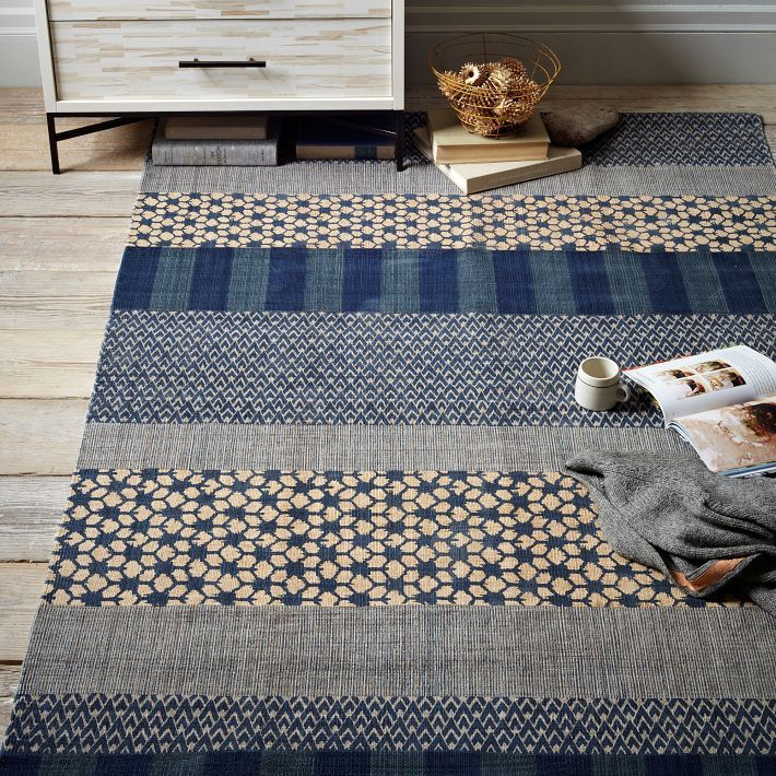 Cotton Dhurrie Rug Kabuki Printed From West Elm