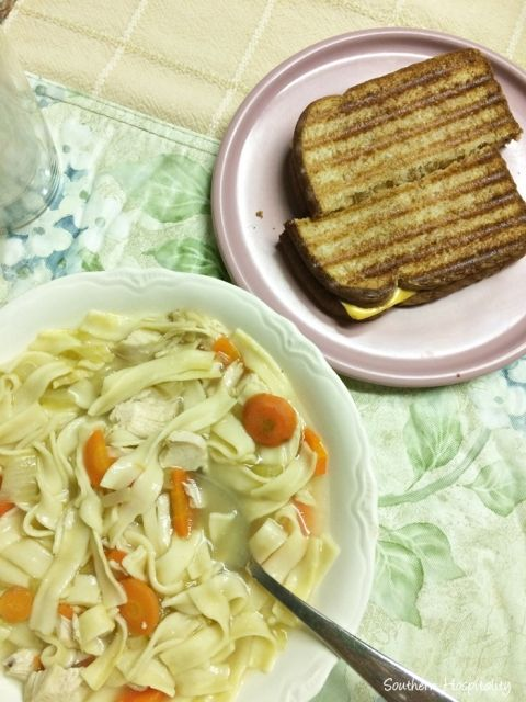chicken noodle soup and grilled cheese