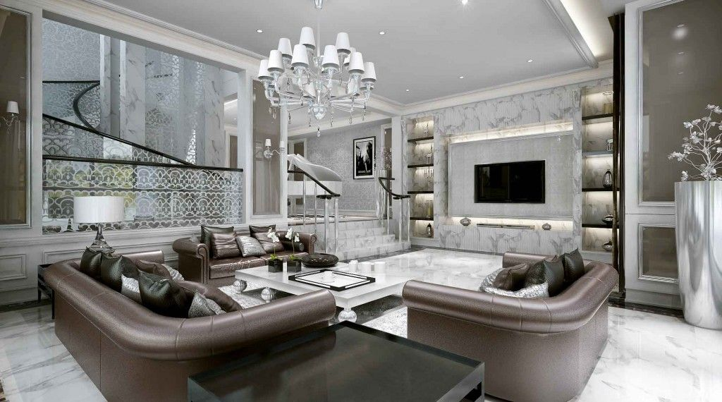 luxurious big sofas design in modern stylish living room interior