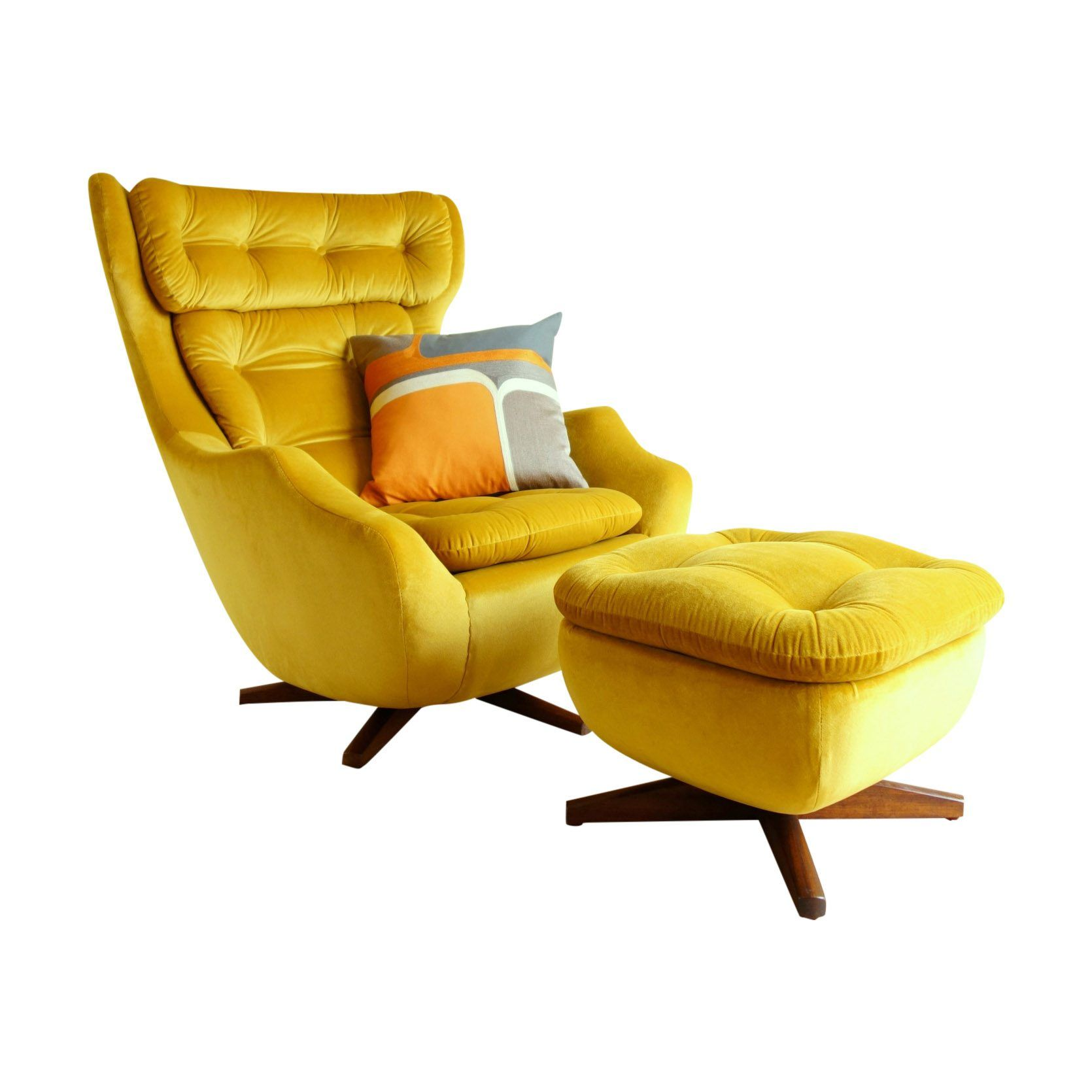 Parker Knoll Swivel Armchair With Footstool In Yellow Velvet Single Sofa Bed Furniture Living Room Decor Apartment