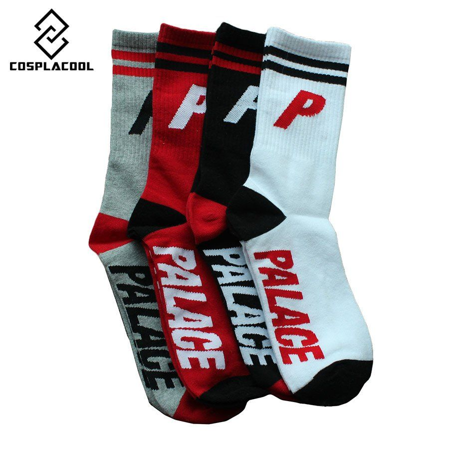 [COSPLACOOL]2017 Crew Socks USA Fashion Palace Skateboard Socks Creative Hip Hop Striped P Letter Print Happy Streetwear Meias