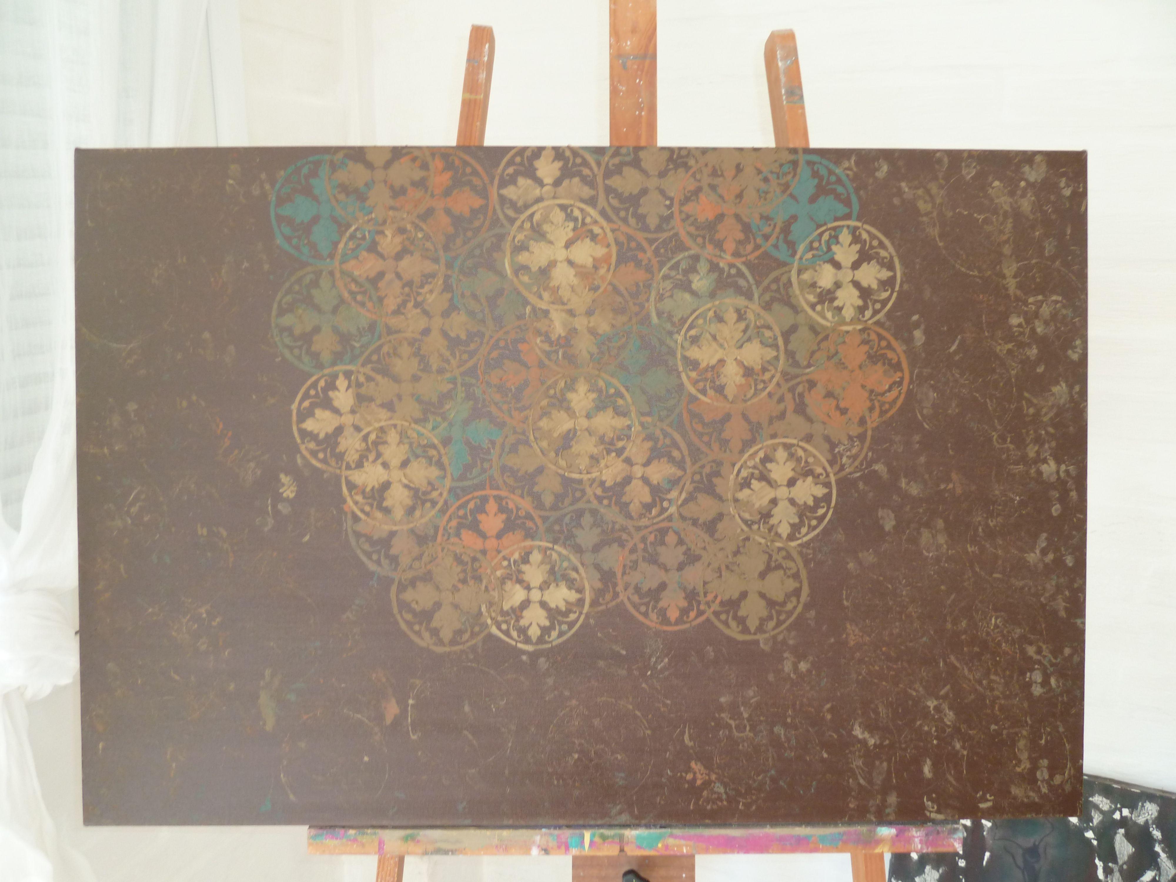 tela Espiritual III em pintura acrilica e tecnica mista  2011 - 60x90 - acrylic on canvas - Melina Ollandezos