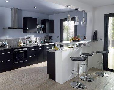 Cuisine noir avec lot moderne noir et blanc castorama - Etageres suspendues plafond ...
