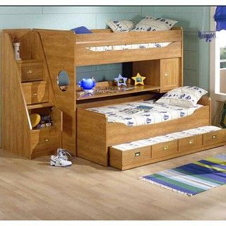 gautier calypso triple bunk desk and storage children kids bedroom collection made in. Black Bedroom Furniture Sets. Home Design Ideas