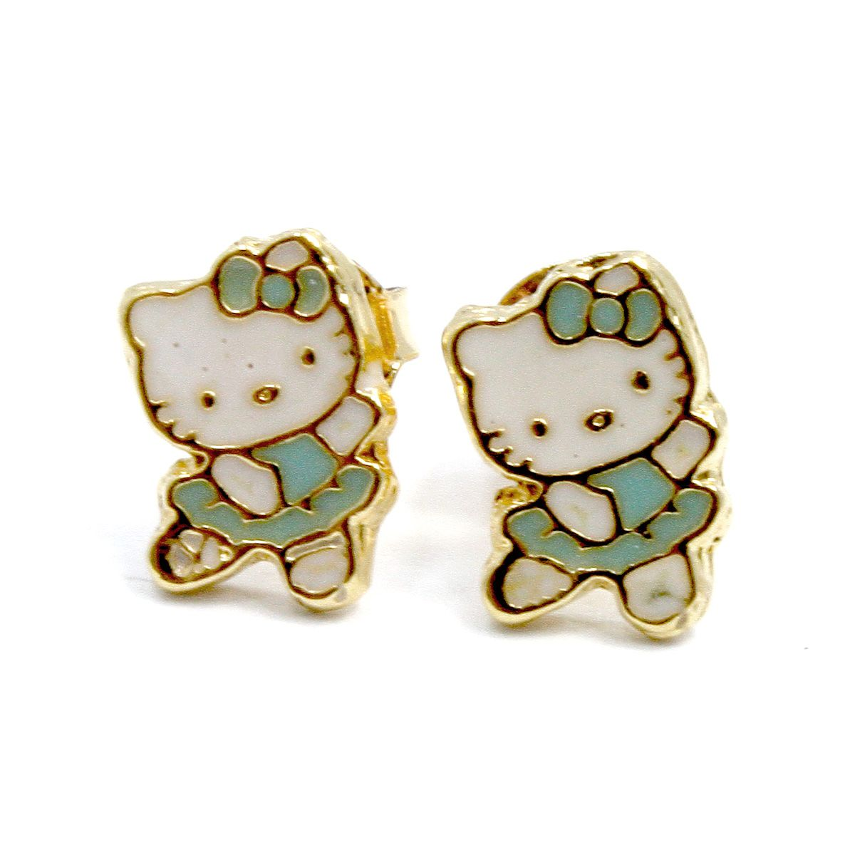 04740c4e1 gold hello kitty jewelry | Gold 18K GF Earrings Baby Blue Hello Kitty  Ballerina Girl Toddler