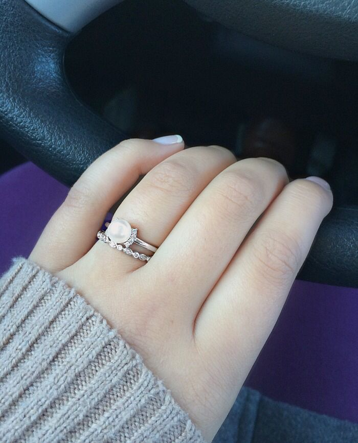 Pearl Engagement Ring And Dainty Diamond Wedding Band Mikimoto