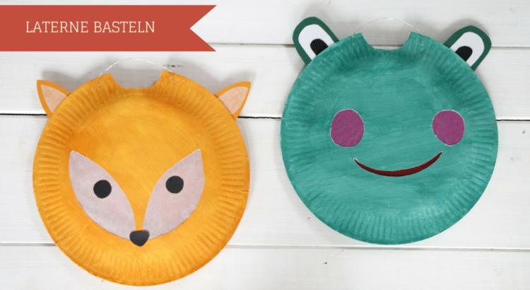 DIY: Frosch-Laterne und Fuchs-Laterne basteln aus Papptellern - Lavendelblog