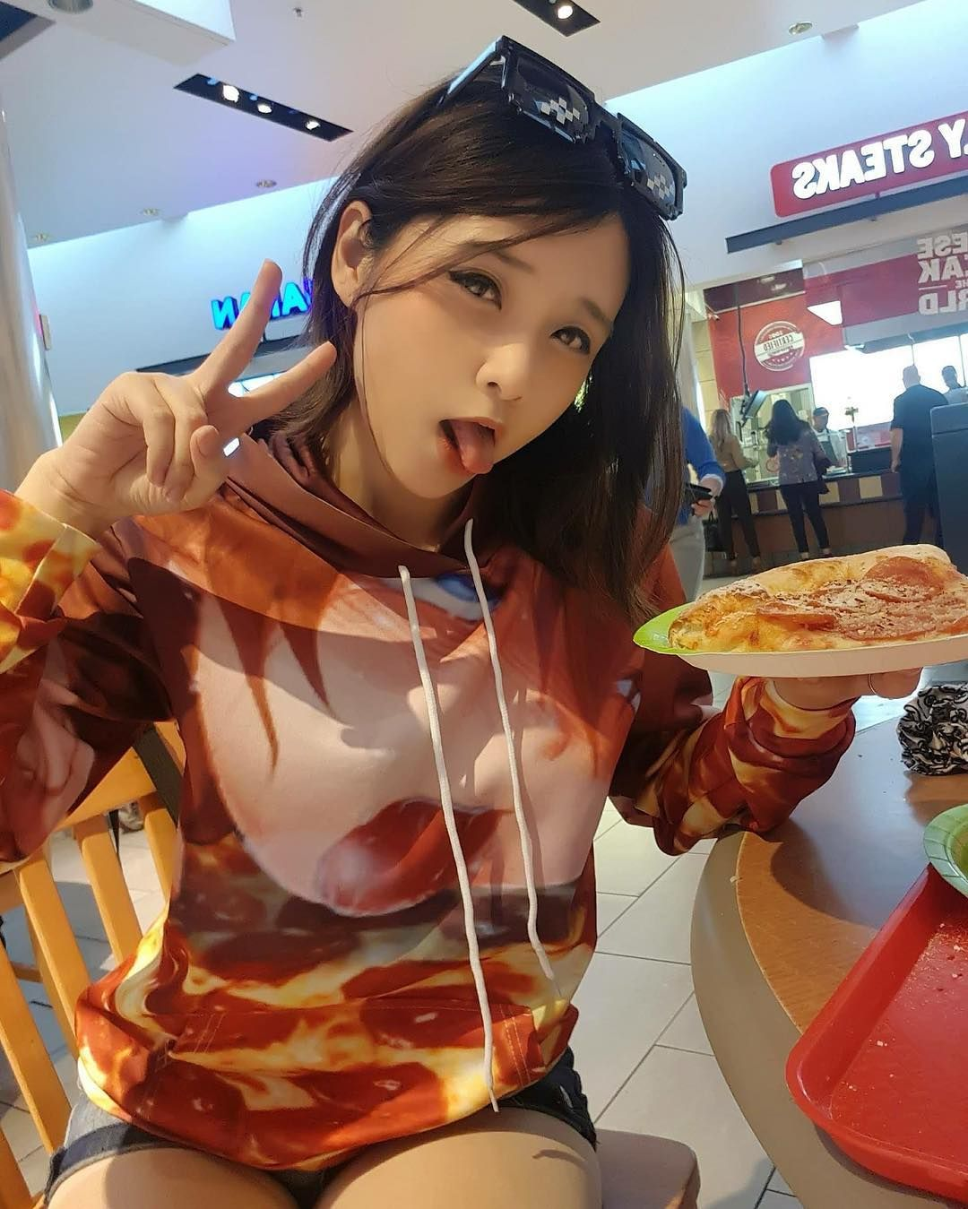 How I Eat Pizza Pizza Hoodie Ahegao Silly Cute Food Asian Girl