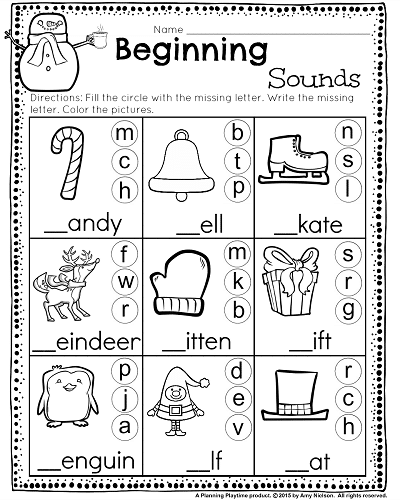 Kindergarten Math And Literacy Worksheets For December Planning Playtime Christmas Worksheets Literacy Worksheets Beginning Sounds Worksheets