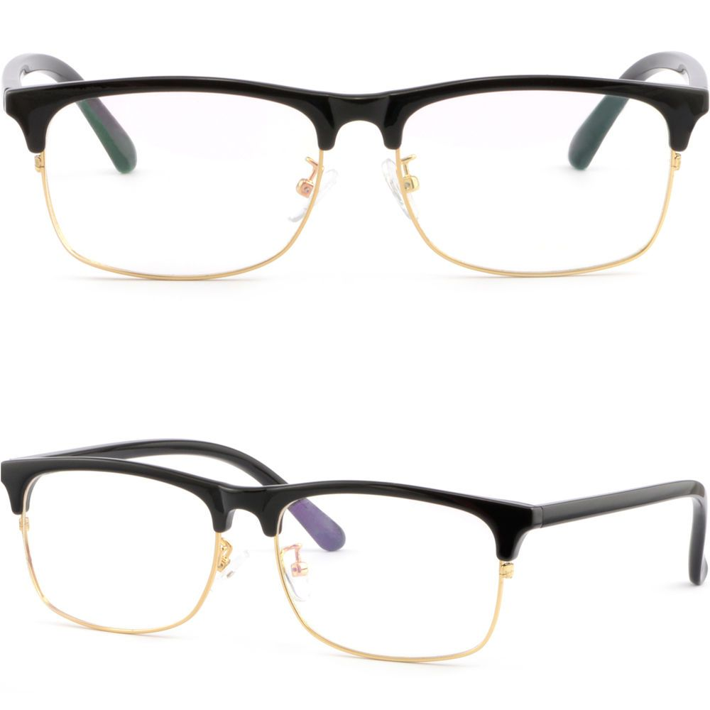 a0c3ab87f4a Full Rim Plastic Black Browline Frames Mens Womens Prescription Glasses  Gold Rim  Unbranded