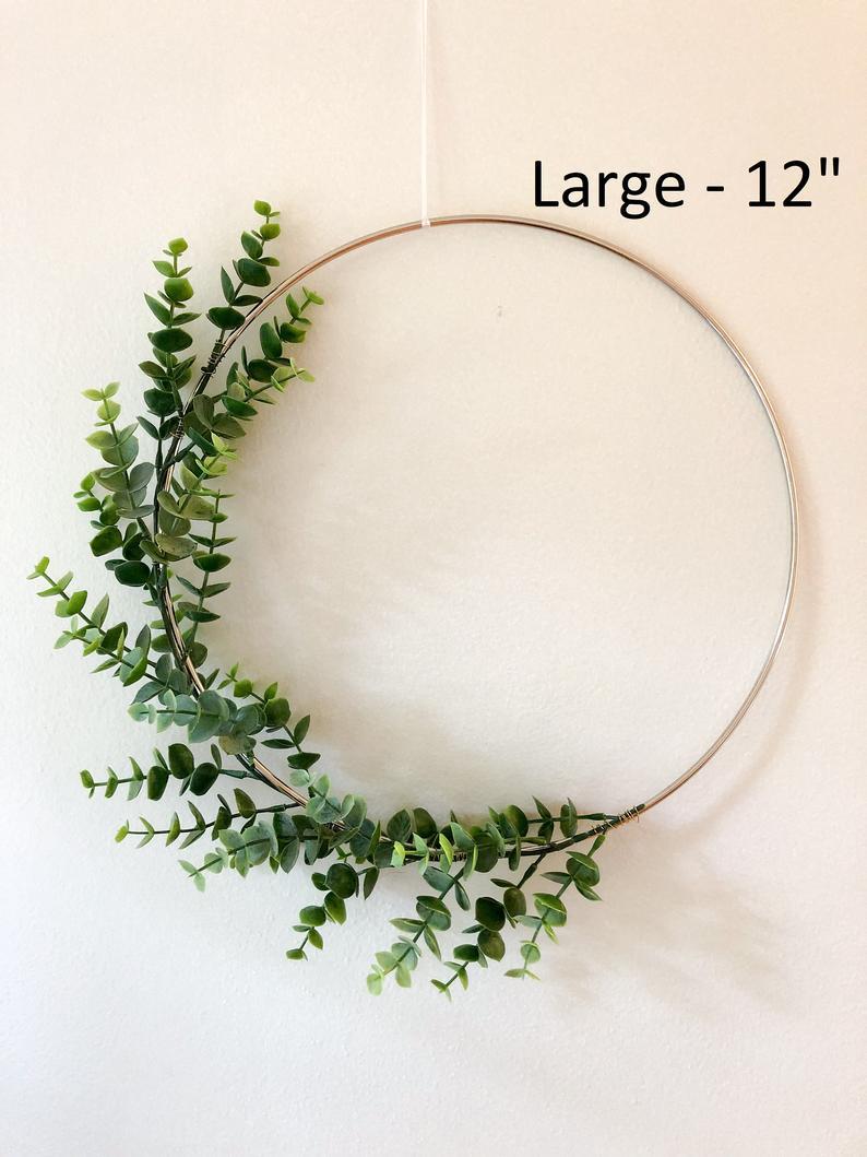 Photo of Metal Hoop Wreath Simplistic Shabby Chic Green Eucalyptus Wreath Succulent Gold or Brass Simple Wedding Baby Nursery Rustic