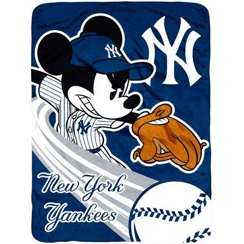 New York Yankees Mickey Mouse Micro Raschel Throw Blanket Northwest Classy Yankees Throw Blanket