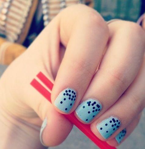 Blue Polka Dot Nail Designs Idea