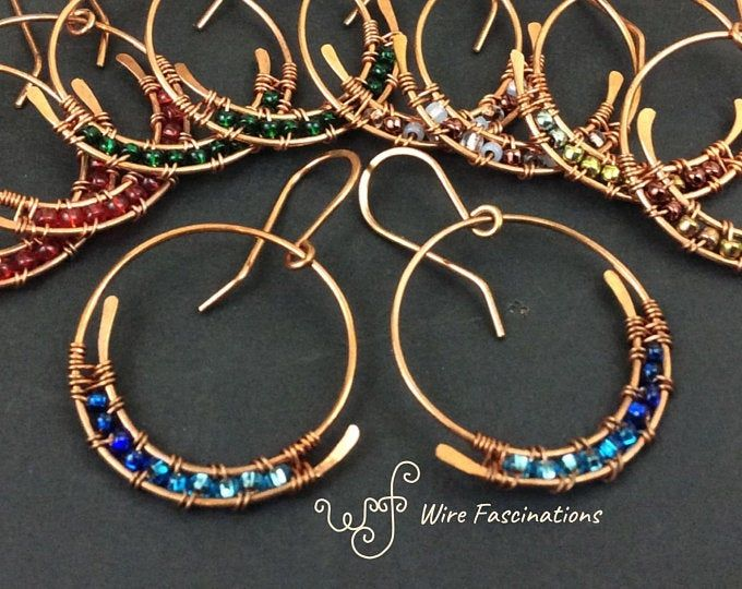 Photo of Small copper hoop earrings with wire wrapped beaded dangle