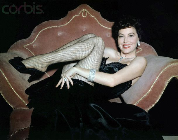 Ava Gardner,satin, vintage, 1950's, couch, decor, pinup