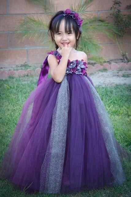 b3e39b7a832 Eggplant Plum   Gray Silver Flower Girls Tutu Dress -- flower girl dress