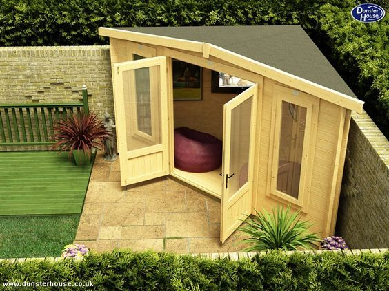 tiny corner cabin shed for backyard retreat or storage