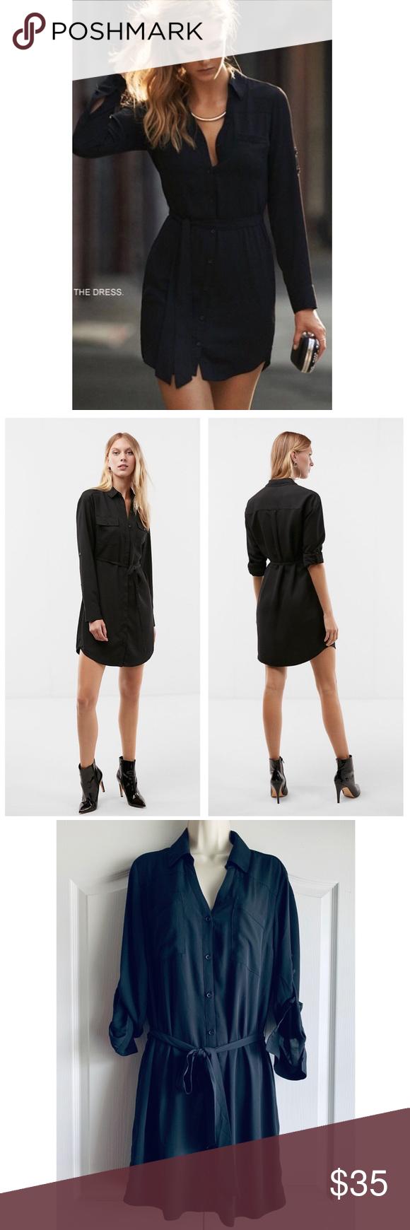 a41420ee4e66 Express Black Long Sleeve Portofino Shirt Dress Excellent condition - no  flaws. Details  long