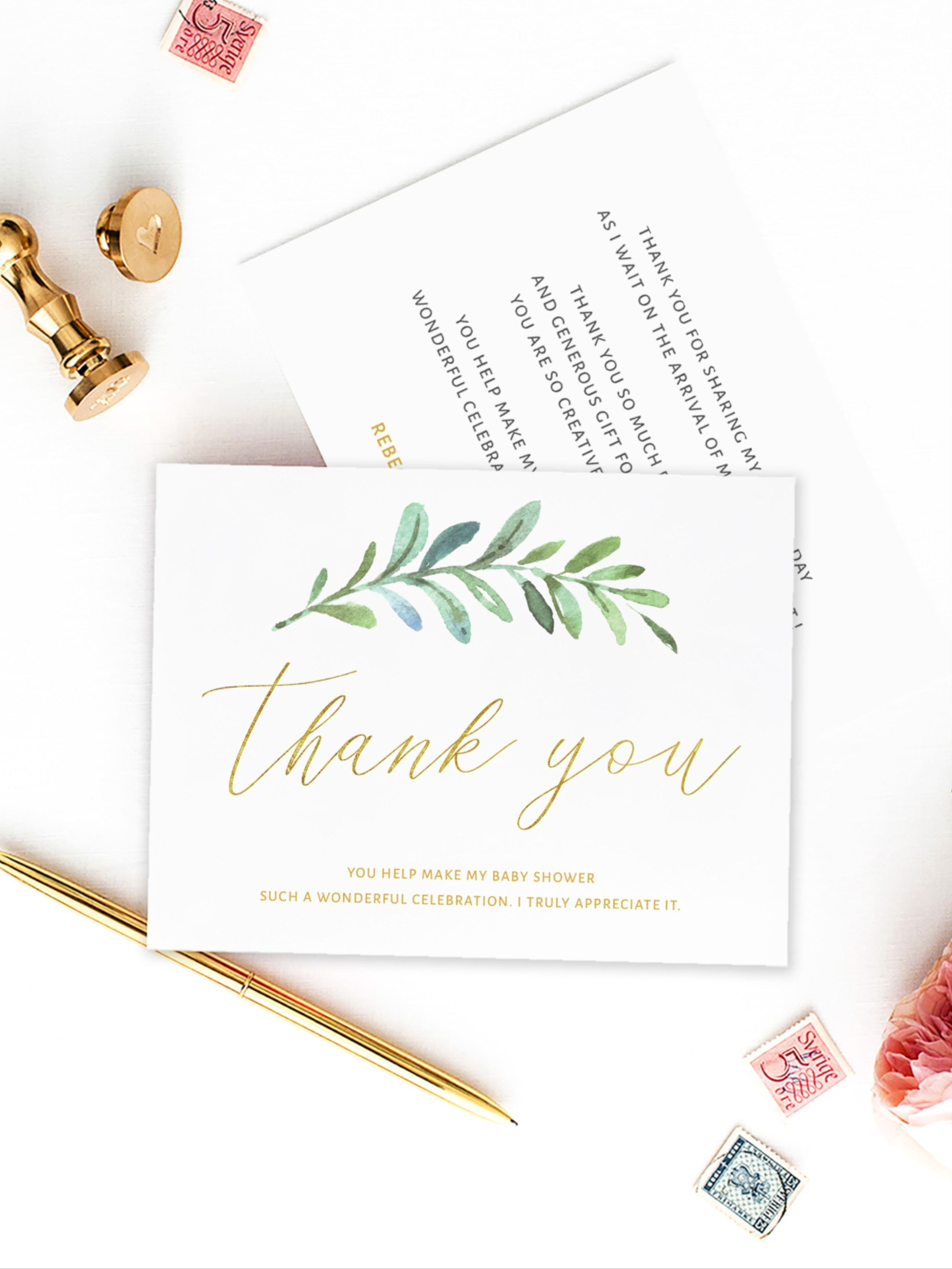 Greenery Wreath Baby Shower Thank You Card Template DIY Thank You Card Template Editable Thank Card Template Thank You Card Photo