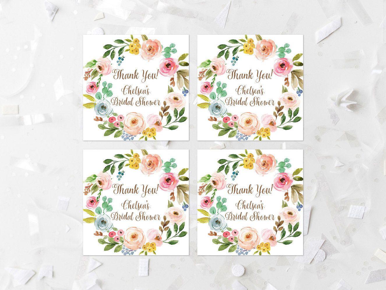CUSTOM Name Spring Floral Bridal Shower Favor Tags Printable Bridal ...