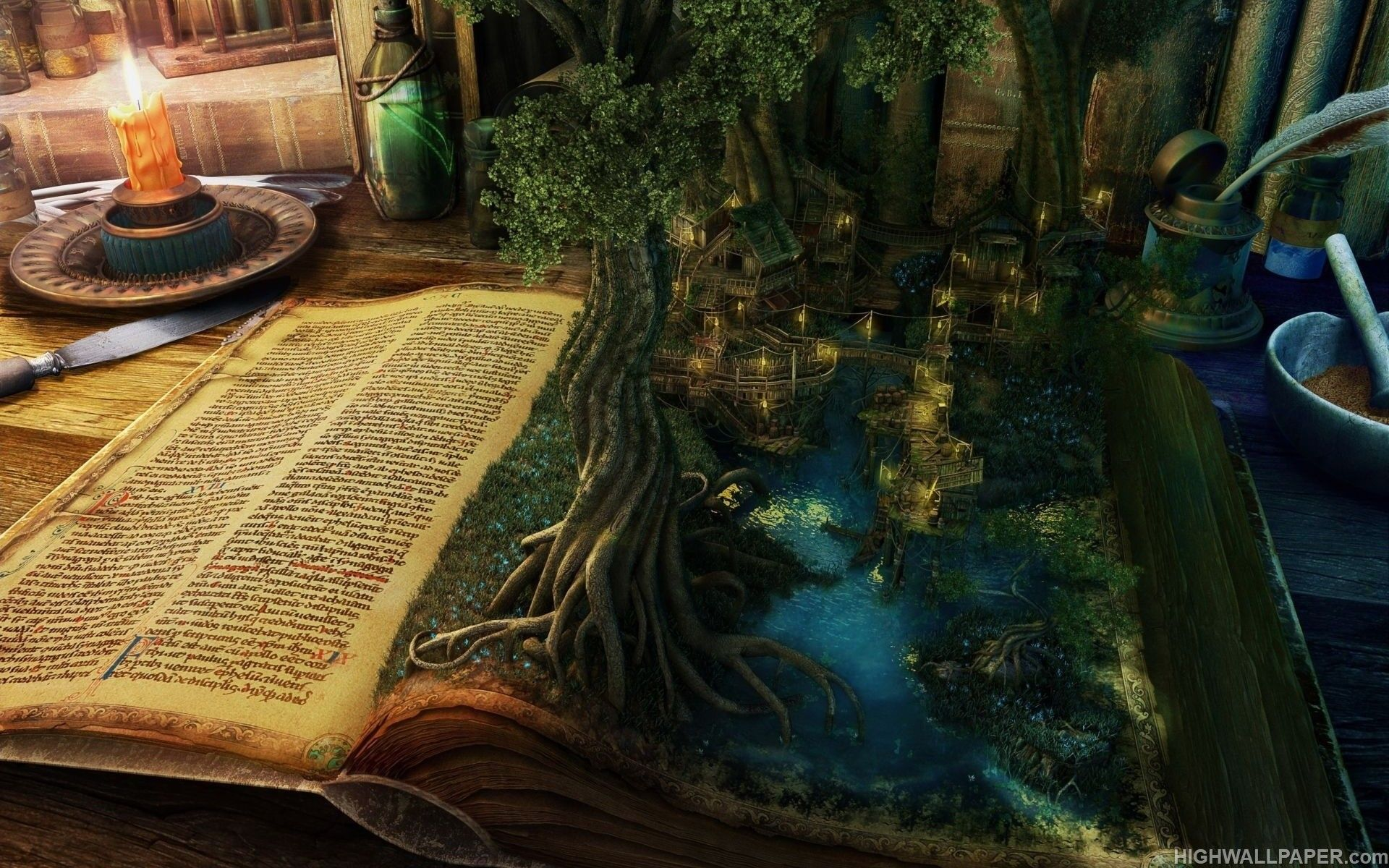 Download Fantasy Book Tree And City Hd Wallpaper For Desktop Fantasy Book Tree And City Wallpaper For Laptop Download Book Wallpaper Magical Book Magic Book
