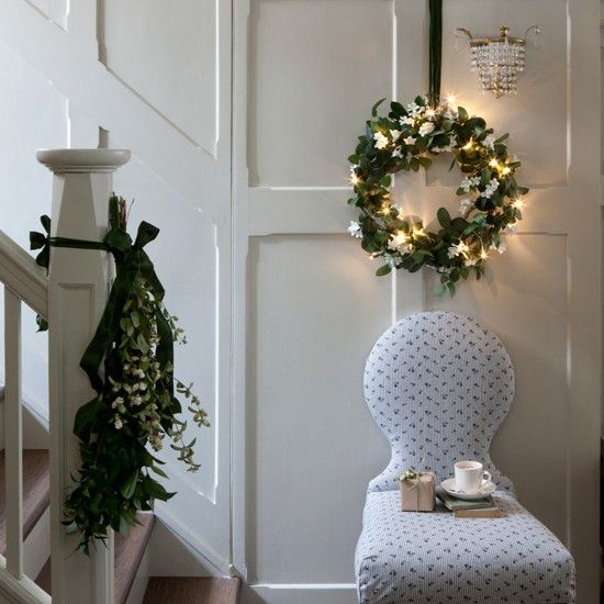 crisp white hallway festive decorating ideas homes gardens