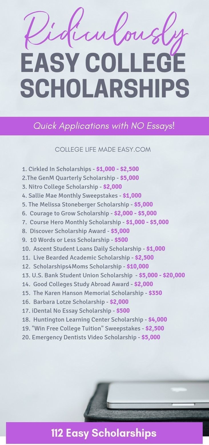 Im SO glad I found this list of no essay scholarships because its going to save me sooo much time The applications that are so quick and easy that I applied right on my p...