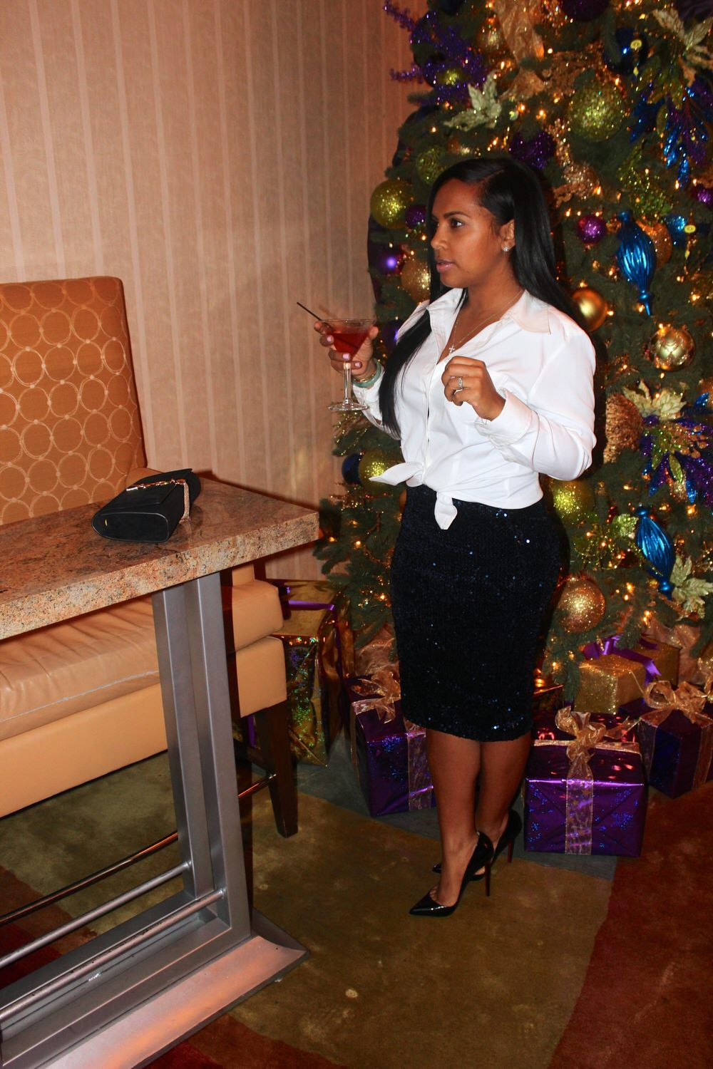 Holiday Attire - Sequin Pencil skirt, Vintage white mens button down shirt, Christian Louboutin pumps, YSL Clutch