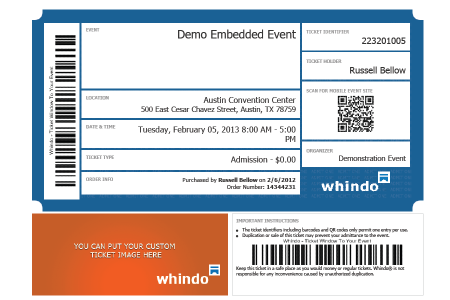 customize your printed event tickets for additional marketing reach