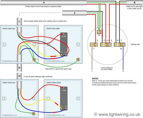 Two Way Switching 3 Wire System Old Cable Colours Light Wiring Light Switch Wiring Lighting Diagram Electrical Switch Wiring