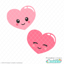 graphic about Printable Cuttable Creatables known as Lovely Valentine Hearts Totally free SVG Information Misc pets Free of charge