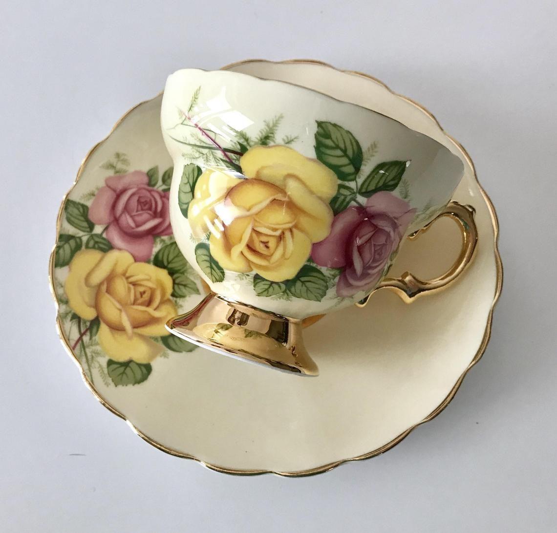 Rosina Rose China Tee Tasse Und Untertasse Etsy Tasse Und Untertasse Teetasse Untertasse