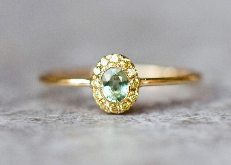 Oval Halo Diamant Verlobungsring Ehering Von Arpelc Handgemachter