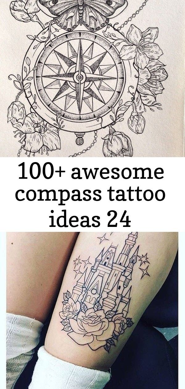100+ awesome compass tattoo ideas 24