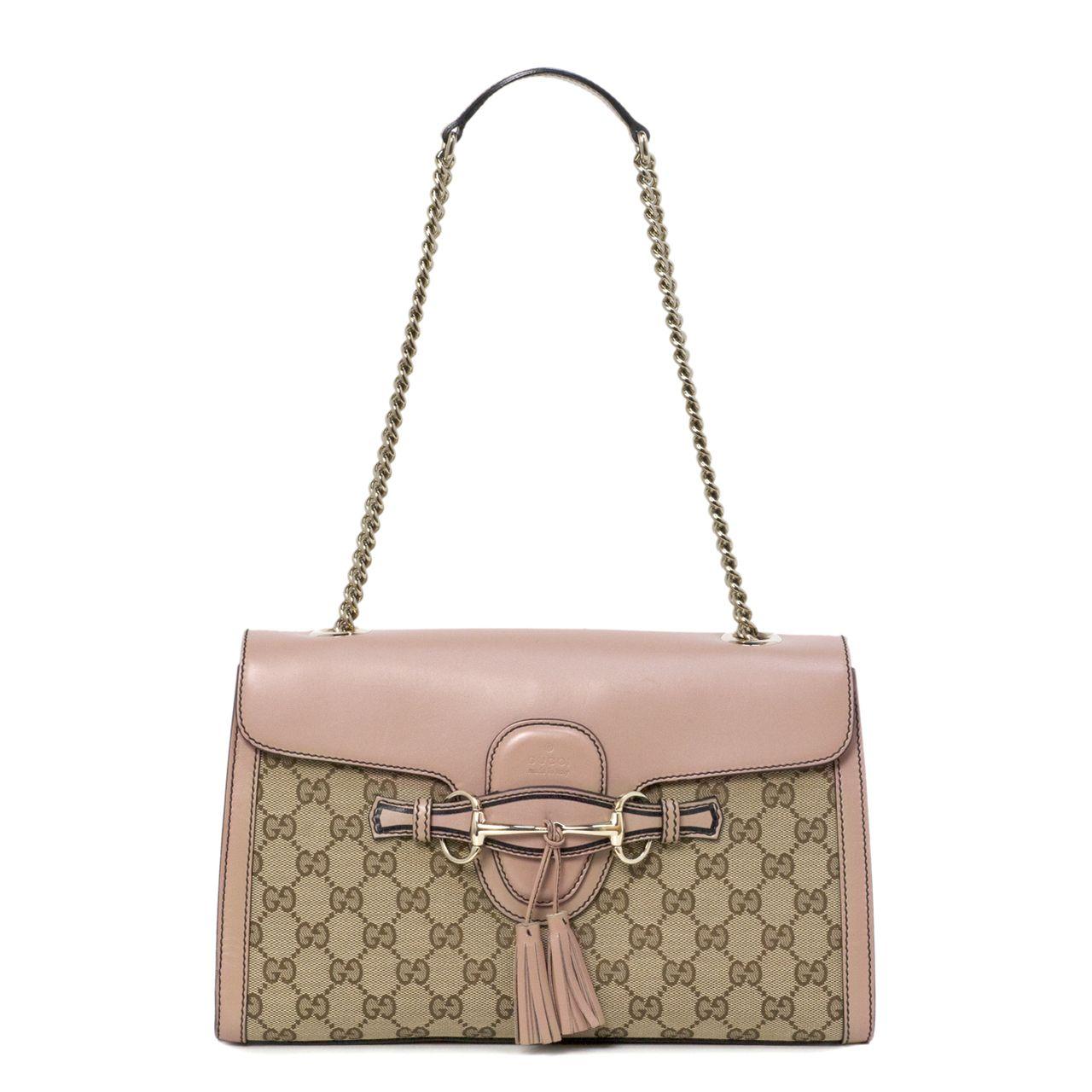 4bb9d0b2d8f Gucci Monogram Canvas Emily Chain Shoulder Bag - modaselle   Gucci ...