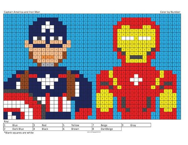 Megapixel Characters Coloring Squared Captain America Party Decorations Cool Coloring Pages Captain America Party