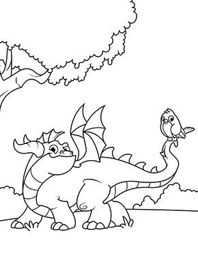 Ausmalbild Drache Mit Einem Vogel In 2020 Lustige Malvorlagen Malvorlage Dinosaurier Ausmalen