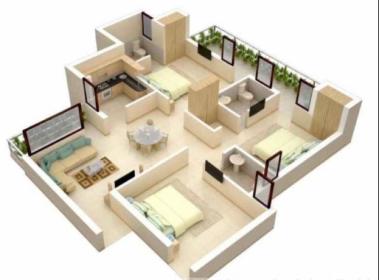 20 Gambar Denah Rumah Ukuran 8x10 3 Kamar Tidur Denah Rumah Desain Apartemen Desain Rumah