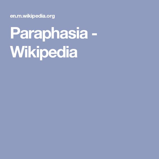 Paraphasia Wikipedia Wikipedia Health Paradise
