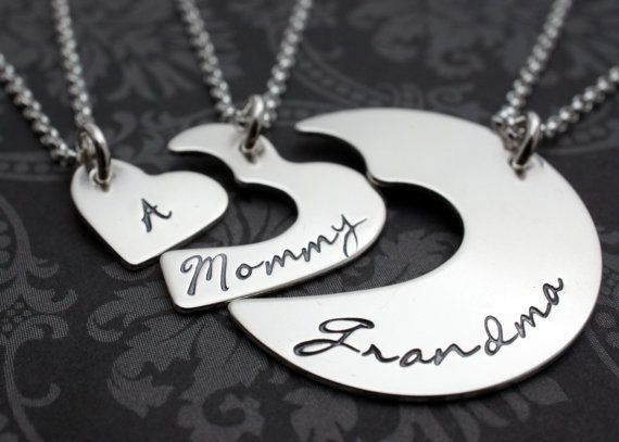 1597c32fb3c82 Personalized Three Generation Necklace Set in Sterling Silver ...