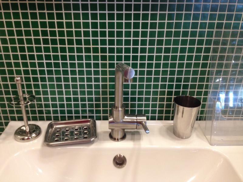 de bain carrelage mosaique vert
