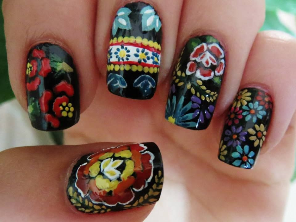 Mexican Embroidery Style Nail Art Flowers Colorful