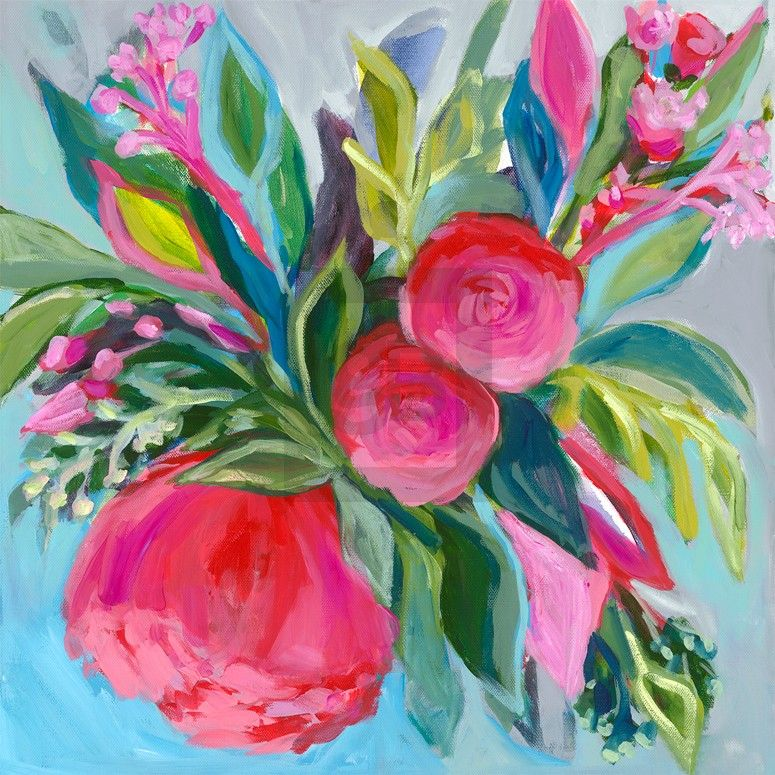 bold bright florals iii floral canvas wall art greenbox art rh pinterest com