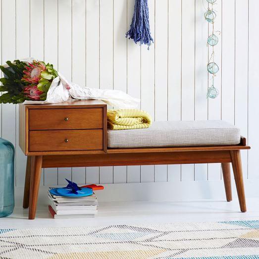 Mid century storage bench acorn decorating maison mobilier de salon d co entr e maison for Mobilier decoration maison