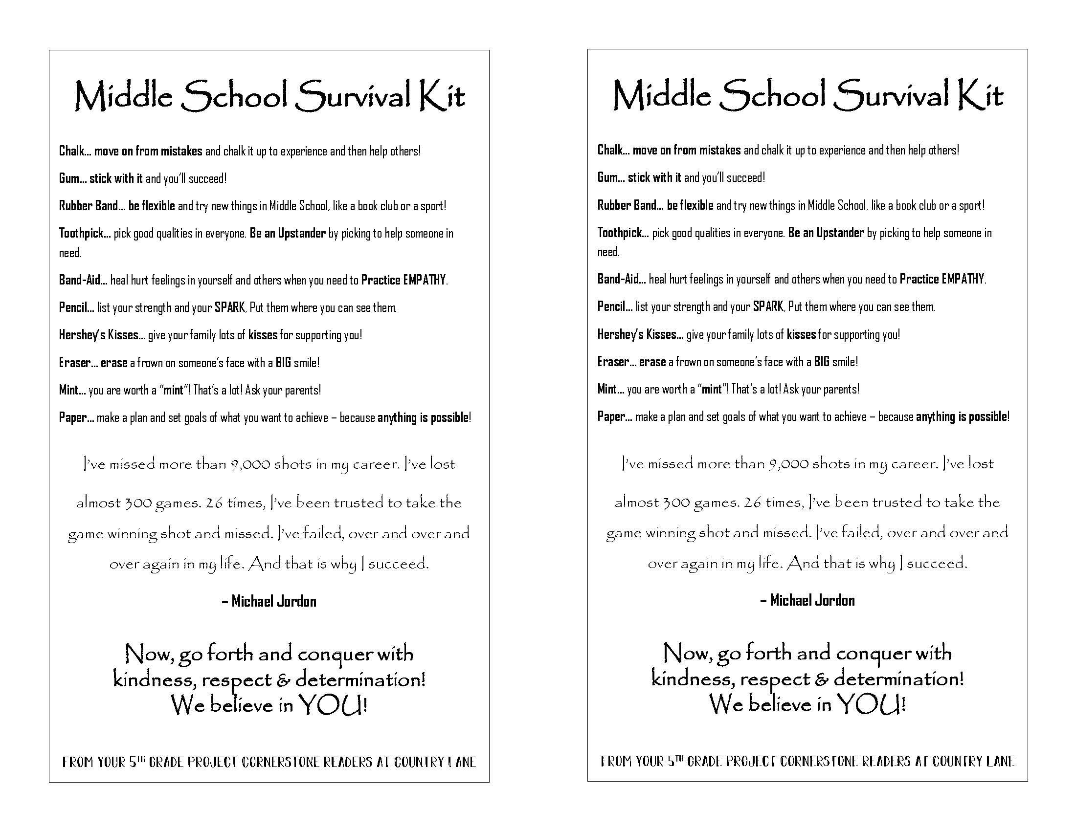 A Middle School Survival Kit Created By The Volunteers At